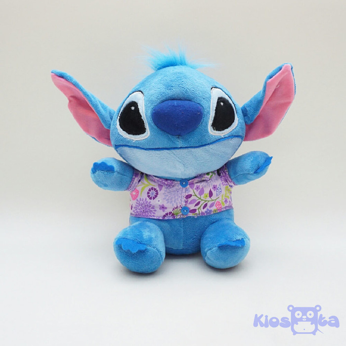 boneka stitch sitting baju hawaii bunga