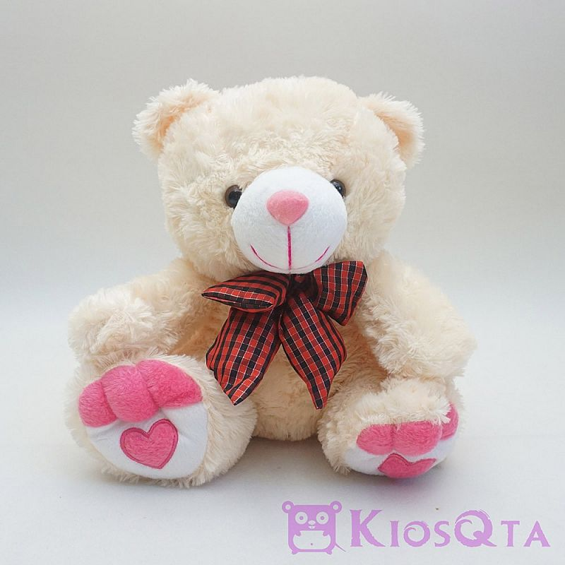 boneka teddy bear krem pita merah kotak kotak medium AUG